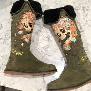 Authentic Ed Hardy boots.